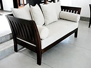Woodkartindia Sheesham Wood 5 Seater Sofa Set White 3 1 1 Amazon