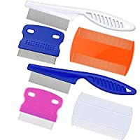 Aptoper Pet Lice Combs,6 Pieces Dog Grooming Flea Comb Cat Tear Stain Comb for Removal Dandruff, Hair Stain, Nit