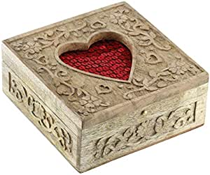 Romantic Gifts Red Heart Jewellery Box Beautiful and Unique Handcarved Wood Storage Keepsake Box from SouvNear