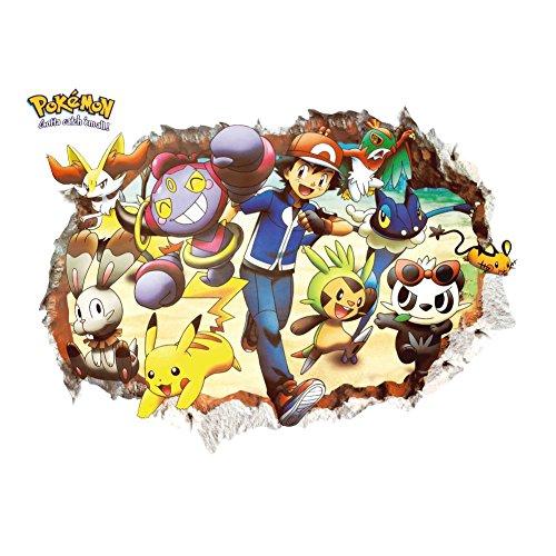 Oulique ® 3D Aufkleber Pokemon im Wanddurchbruch Loch Pokemon Nidorina