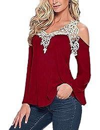 ISASSY Blouse Femme Manches Longues Épaules Nues Dentelle Crochet T-shirt Blouse Pull - Rouge / Noir