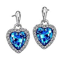 Neoglory Blue Heart Crystal Drop Earrings Rhinestone Platinum Plated Fashion in Gift BOX