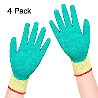 Safety Work Gloves, GLANICS Latex Wrinkle Coated Seamless Knit Dipped Gloves, for Construction Gardening Cargo-Handling Car-Repairing (2P, Green&Yellow)