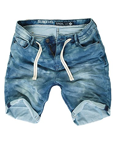 Sublevel Sweat Denim Shorts Herren Kurze Hose Bermuda Denim Sommer Jogger Chino (Dunkelblau H-5, W34) - 34w Kurz