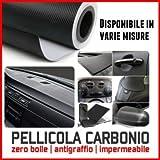 StickersLab - Pellicola adesiva fibra di carbonio 3D carbon look wrapping no bolle varie misure termoformabile - 50mm x 2MT