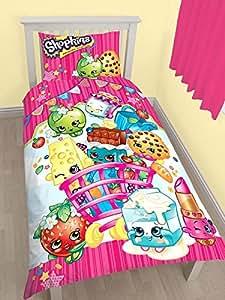 Shopkins simple Housse de couette et taie d'oreiller Set + Gratuit Shopkins Petits School Stickers Autocollants de récompense