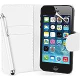 Supergets® Schlichte Einfarbige Hülle für Apple iPhone 5/5s Buch-Stil Tasche in Lederoptik Brieftasche Etui Schale Case, Eingabestift, Schutzfolie