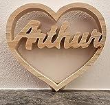 Coeur à prénom chantourné en bois personnalisable - 15 cm - fait à la main en bois massif - cadeau unique...