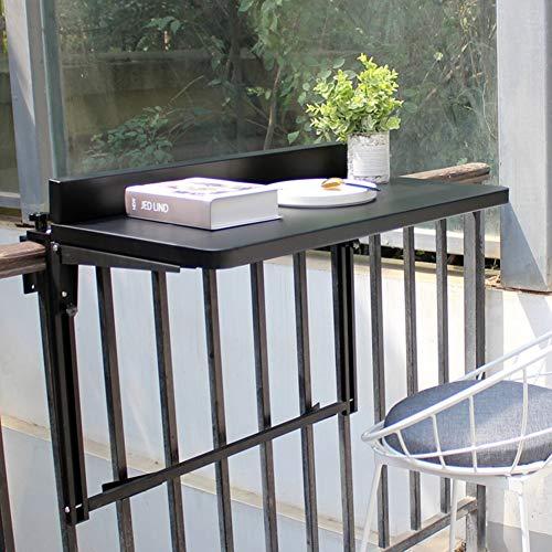 LIANGLIANG Balkon Wandregal Faltbarer Geländer Schreibtisch Multifunktions Computer Schreibtisch Im Freien, 2 Farben, 2 Größen (Farbe : SCHWARZ, größe : 77x40x55cm)