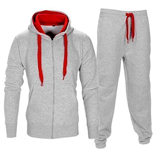 Preisvergleich Produktbild Star Trendz Kinder Unisex Essentials Kontrast Fußball Sportbekleidung Trainingsanzug Fitnessstudio Fleece Kapuzenpullis Jogginghose Jogginghose Gym Set (13, Grau/Rot)