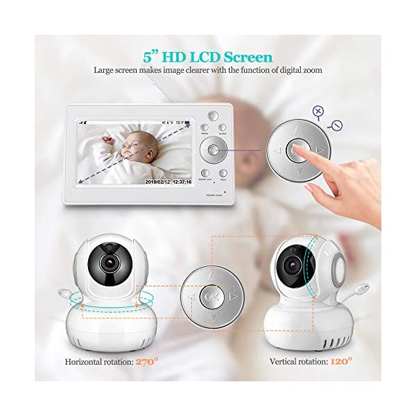 """iLifeSmart 720P Wireless Video Baby Monitor with 5"""" HD LCD Digital Screen, Two Way Audio and Baby Lullabies, Sound & Temperature Alert, Low Battery & Out of Range Alarm, Night Vision iLifeSmart 【5"""" Large LCD Screen Monitor 】 iLifeSmart baby monitor is equipped with super large 5 inch full color HD LCD screen with 1280 x 720 resolution, which can offer you a clear and vivid real-time view.5"""" Large Rechargeable Color LCD Monitor : iLifeSmart baby monitor is equipped with super large 5 inch full color HD LCD screen with 1280 x 720 resolution, which can offer you a clear and vivid real-time view. 【Sound Detection and Temerature Monitoring】The baby monitor can be at the sleep mode then activated by sound.The temperature monitoring function can help you build a cosy environment for your baby. 【Pan and Tilt Function】You can press the button on the baby monitor to see your baby closer and clearly. 3"""