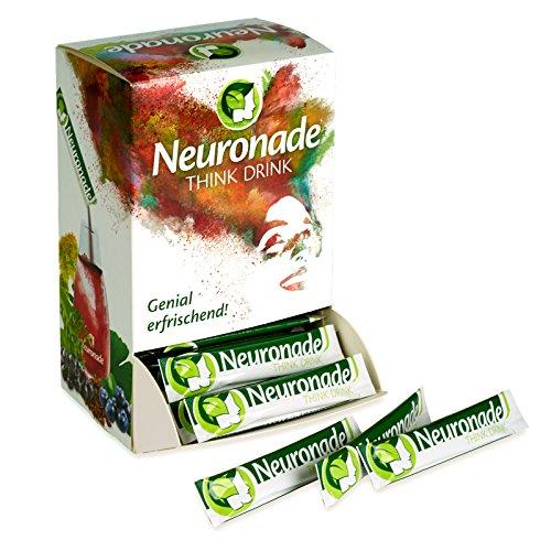 Neuronade ® - Think Drink es una bebida en polvo para el desarollo mental y de la memoria | con ginkgo, brahmi, rhodiola, té verde, biotina, vitamina B12 | ingredientes naturales y 100% vegano, 100 paquetes
