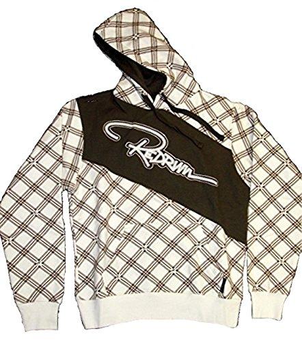 REDRUM Danger Hoody Sweatshirt Pullover mit Kapuze Baumwolle kariert Freizeit, Sport, Training, Fitness für Damen und Herren Weiß