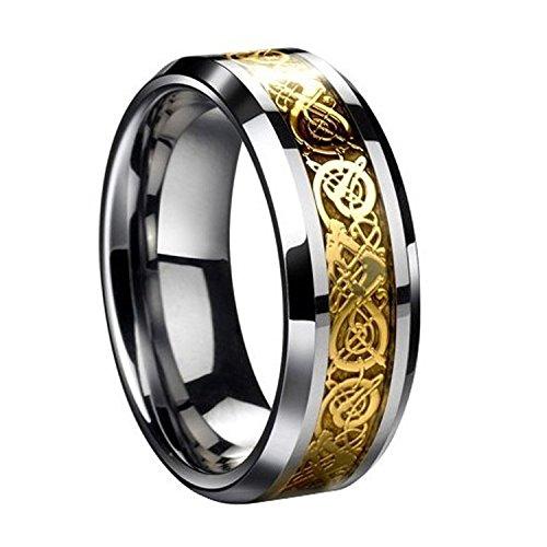 Herren Ring - SODIAL(R)Drachenschuppe Drachen Muster schraeg Kanten keltisch Ringe Schmuck Hochzeitsband fuer Maenner Golden 11