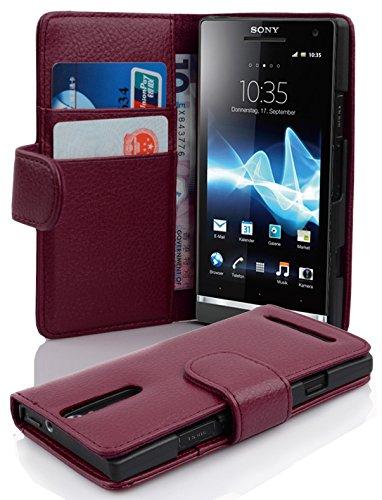 Cadorabo Étui de protection à rabat en cuir synthétique avec compartiment pour cartes de crédit pour Sony Xperia S Bordeaux