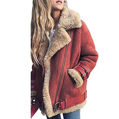 iHENGH Damen Warm bequem Parka Winter Jacke Faux Pelz Fleece Parka Mantel Outwear Revers Biker Motor Aviator(EU-44/CN-L,Rot) - Aviator Damen Watch