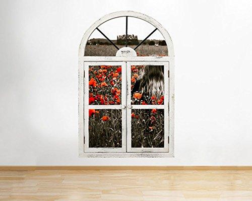 tekkdesigns G283Mädchen Poppy Field Blumen Fenster Wand Aufkleber 3D Kunst Aufkleber Vinyl Raum Mädchen Poppy