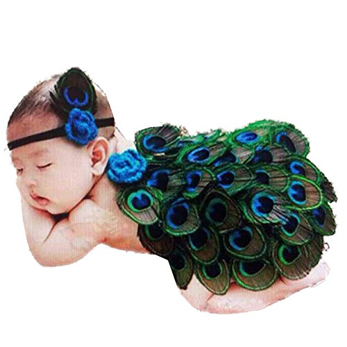 Zeagoo Fotografie Prop Baby Kostüm niedlich Pfau Stricken Handarbeit (Pfau Kostüme Für Baby)