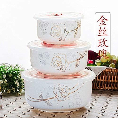 Ciotola fresca con il coperchio di scatole di spaghetti istantanei vaso recipiente di ceramica home forno microonde ciotola di bento 1