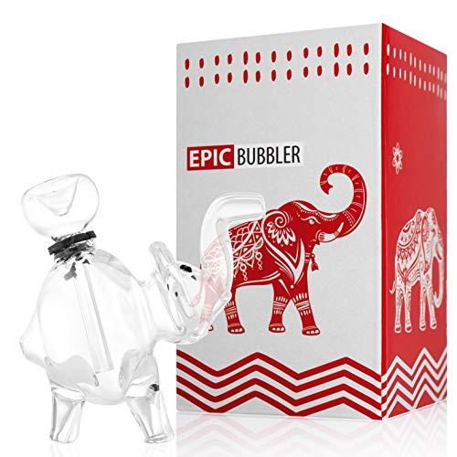 Wasserhand-Glas-Elefanten-Gerät, 12,7 cm, transparent mit abnehmbarem Unterbau (Unkraut-shisha)