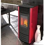 Estufa a PELLAS punto Fuego Sara 11kW/320M³ Color Rojo Rubí