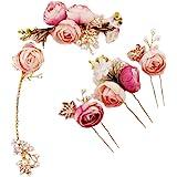 Lurrose 5 Unids En forma de U Rosa Flor de horquilla Comillas Laterales Francesas Pinzas para el cabello Accesorios de boda p
