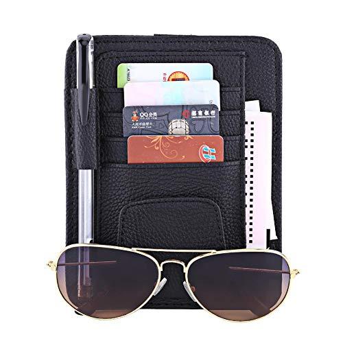 Keenso Multifunktions Auto Sonnenblende Veranstalter Karte Lagerung Gläser Halter Clip Tasche Tasche Hängen Halter PU Leder(Schwarz)