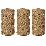 EDGEAM Natürliche Jute Seil 328-Fuß/100M Dekokordel für Hang Etikett, Grußkarte,Geschenke, DIY Basteln,Garten (3PCS)
