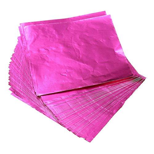 Ruiting 100 quadratische Süßigkeits-Schokoladen Lutscher Papier-Folien-Verpackungs-Rosa Haushaltsgegenstände (Schokolade, Papier Verpackung,)