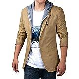 YiLianDa Herren Sportliche Sakko Jacket Slim Fit Blazer Anzugjacke Business Übergröße Anzug Kurzmantel Khaki 2XL