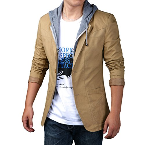 Sakko, Braunes Blazer (YiLianDa Herren Sportliche Sakko Jacket Slim Fit Blazer Anzugjacke Business Übergröße Anzug Kurzmantel Khaki 6XL)