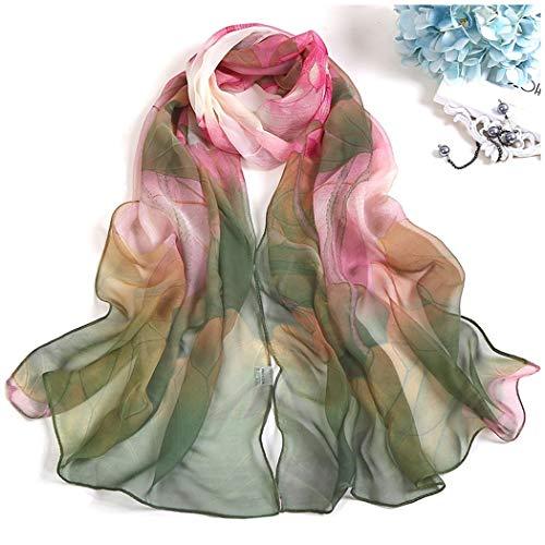 YONGYONG-scarf Lotus Sonnencreme Seidentuch Strandtuch Langen Abschnitt Damen Seidentuch Lotus Teich Mondschein Dünne Schals Schal 160cm (Color : 2) -