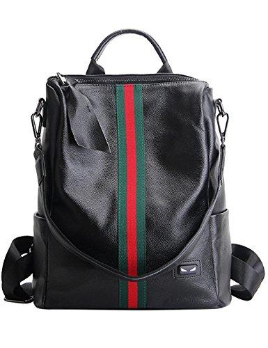 Menschwear Donne Vera Pelle Scuola Borsa Casual Borsa Zainetto Rosso-Bianco-Blu Strisce Rosso-Verde Strisce