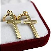 wrone (TM) 1paio di acciaio croce Orecchini Piercing Trago Orecchio Cartilagine 8, Gold