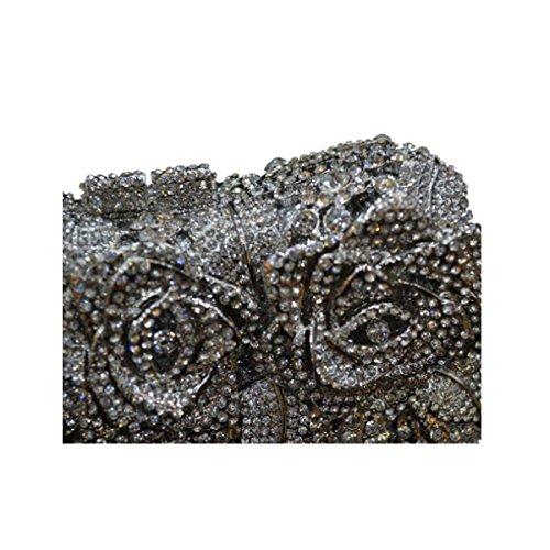 Borsa Da Sera Sacchetto Di Modo Di Diamante Di Lusso Mano Delle Donne Silver