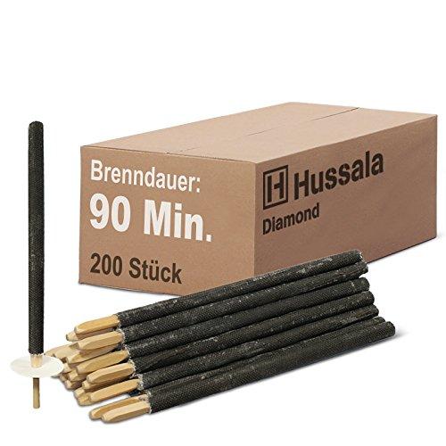 Hussala - Diamond Wachsfackeln Brennzeit 90 min Garten-Fackeln [200 Stück]