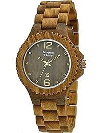 en madera de sándalo mujer Justo el tiempo del reloj con diamantes de imitación en el