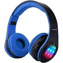Ecandy Bluetooth para auriculares con 3 Modo Luz Led estéreo de música plegable Sobre-oído sonido de alta fidelidad, construido en llamadas inalámbricas ...