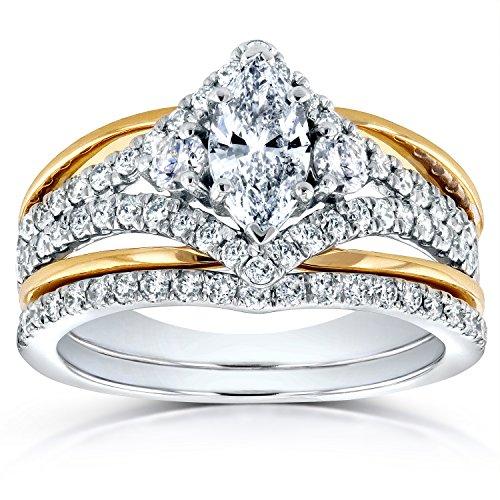 Art Deco, taglio Marquise a forma di anello con diamante 1/5 CT (ctw) in 14 K Two-tone Gold, bianco e oro giallo, 25, cod. 62021M-ED_11.0