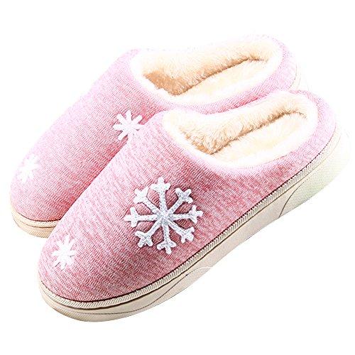 JACKSHIBO Damen Herren Plüsch Baumwolle Pantoffeln Weiche Leicht Wärme Hausschuhe Rutschfeste Slippers Für Unisex rosa EU 38/39