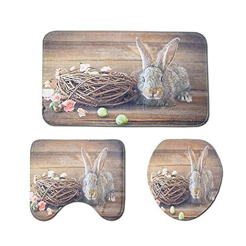 (SEEGOU 3 Stücke Ostern Bad Rutschfeste Cartoon Kaninchen Ei Sockel Teppich Deckel Toilettenabdeckung Badematte Ostern Dekorativer Druck Toilettenmatte Ddreiteilig (B, Mehrfarbig))