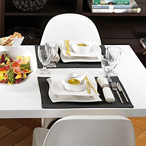 Villeroy & Boch NewWave Dinnerset / quadratische Suppenteller und Speiseteller in geschwungener Form aus edlem Porzellan / 1 x Set (8-teilig) - 5