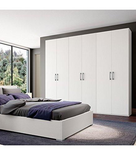 InHouse srls Armadio 6 ante in legno Bianco graffiato 240x53-236H