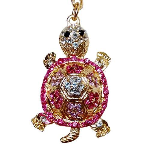 Utrendo® goldener Schlüsselanhänger Glücksbringer Schildkröte Turtle M für Damen mit pink rosa Glitzersteinen (Design Handtasche Italienische Akzent)