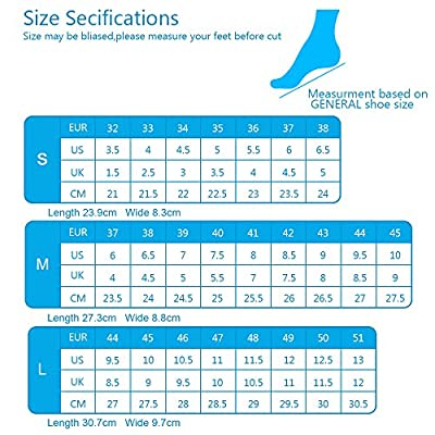 Comfortable Sport Silica Gel Insoles with Antibacterial Anti-Slip Massages Particles, Full Length Cuttable Soft Anti Odour Foot Pads for Relieve Foot Pain, Men & Women S (27.6cm)