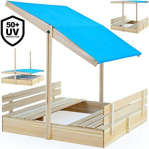 Sandkasten mit Sitzbänken 120x120cm mit höhenverstellbarem und neigbarem Sonnendach UV-Schutz >50 Sandkiste Kindersandkasten Buddelkiste Sandbox Sandkiste Kinder