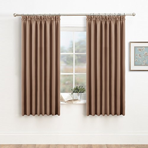 Blackout Pencil Pleat Window Curtains   PONY DANCE Ready Made Thermal Curtain  Drapes For Bedroom Window Treatments Drapery Panels Light Blocking Cold ...