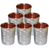 Saanvi Creations Stainless Steel & Copper Water Drinking Glasses (Set Of 6) Indian Drinkware