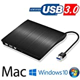 Extern USB 3.0 DVD CD RW Brenner Spieler Slim Laufwerk Portable Superdrive für Apple Macbook, Macbook Pro, MacbookAir, iMac, Windows 2000, XP, Vista/7,Win8, Mac OS - (Schwarz)