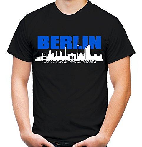 Berlin Skyline Männer und Herren T-Shirt | Fussball Ultras Geschenk | M1 (XXXXL, Schwarz)